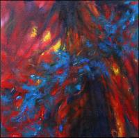 Paint Arson, 11 x 11 x 3 inches acrylics on canvas, gallery wrapped sides painted