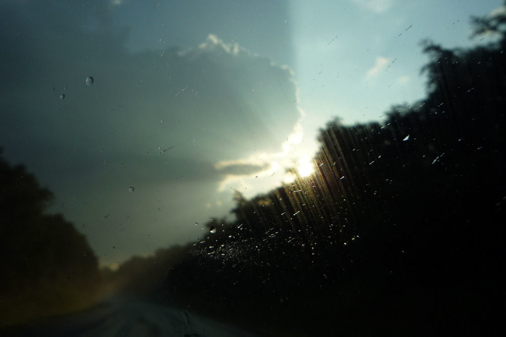 Roanoke Virginia, sunset after a storm, photo through the rainy windsheild