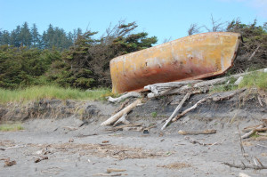 Beached wooden boat, Fort Canby, Washington