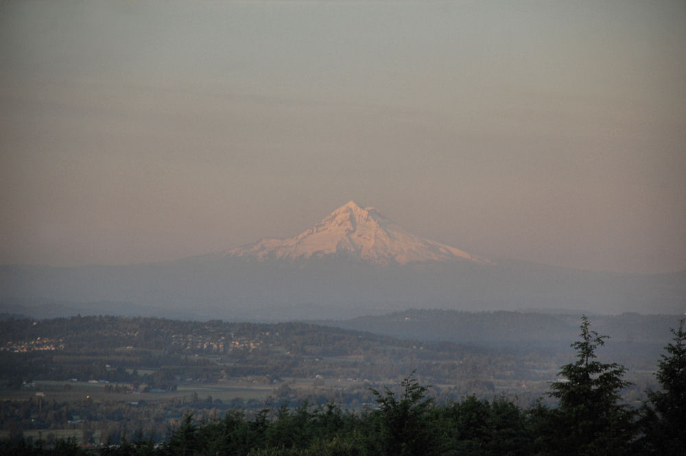 Mt. Hood, Oregon as seen from Hillsboro farmland