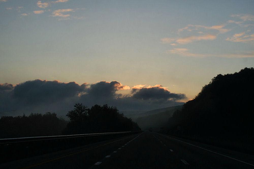 Sunrise and fog, mountains in Pennsylvania