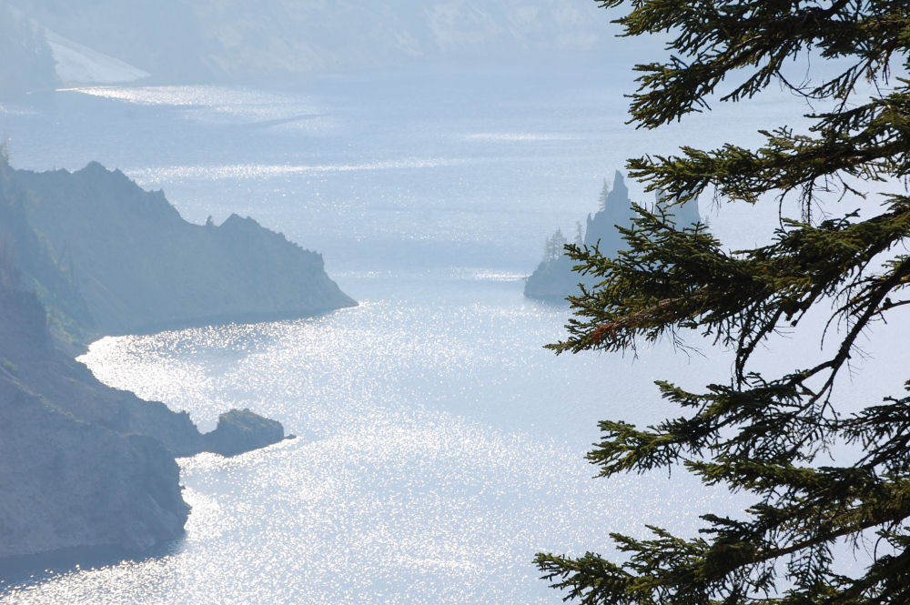 Phantom Ship Rock as seen from Mount Mazama, Crater Lake National Park, OR