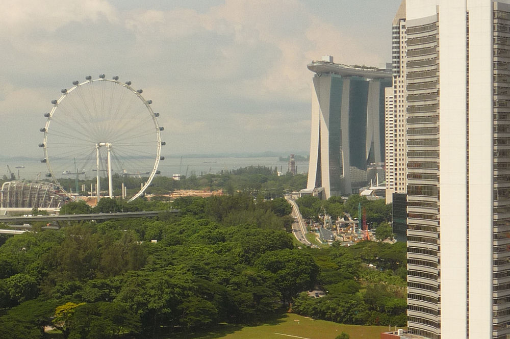 Singapore harbour and The Flyer